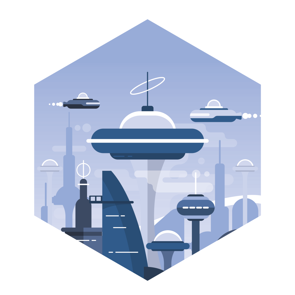 workflow is just a phase, a futuristic city skyline within a hexagonal shape