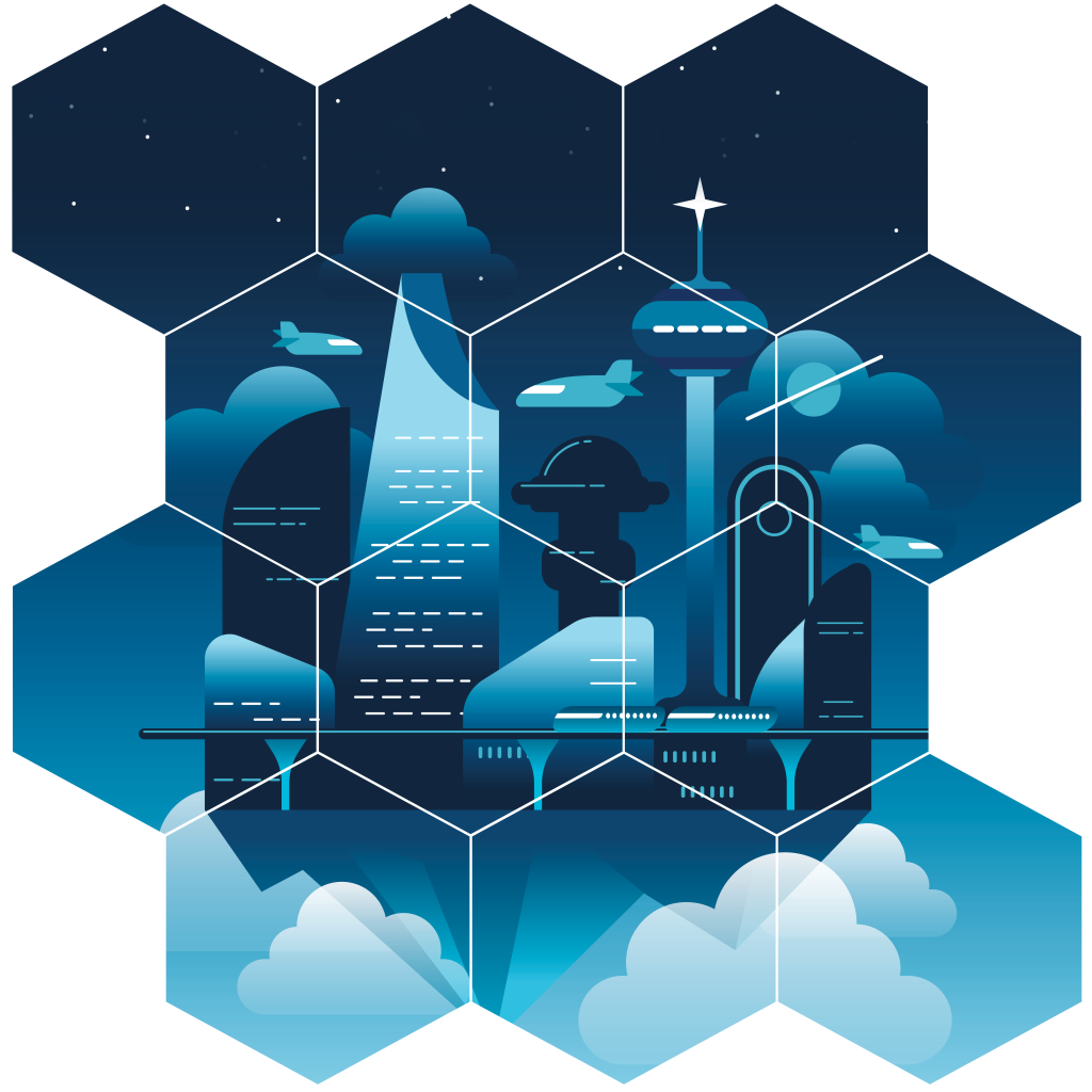 digital forms are workflow too, a futuristic city in the clouds arranged in a hexagonal grid