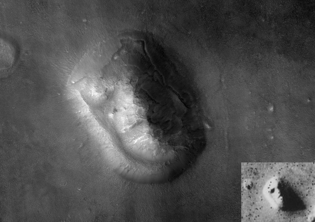 Do we need facial recognition technology to tell the difference? A comparison of two different images of the Cydonia region of Mars.